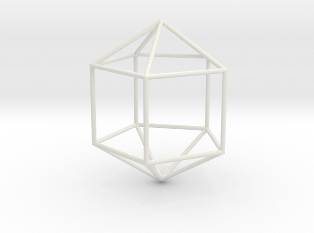 ElongatedPentagonalDipyramid 70mm in White Natural Versatile Plastic