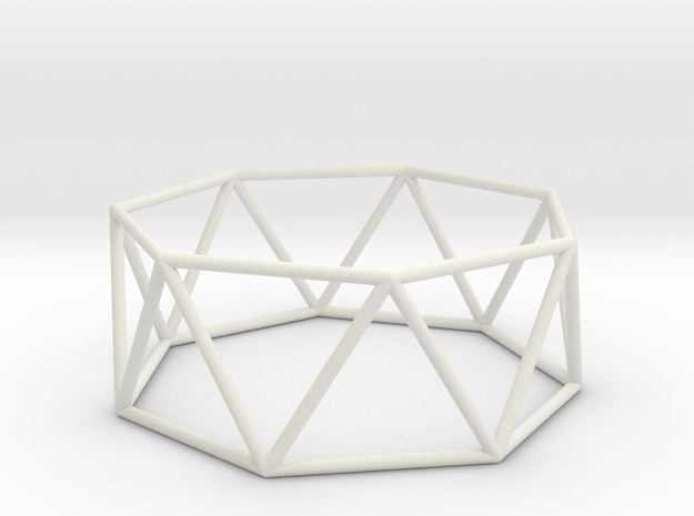 heptagonal antiprism 70mm in White Natural Versatile Plastic
