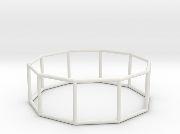decagonal prism 70mm in White Natural Versatile Plastic