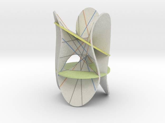 Clebsch Diagonal Cubic With 2 Planes in Full Color Sandstone
