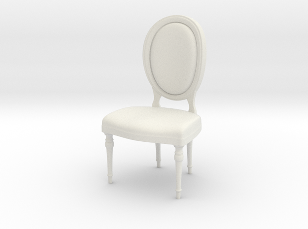 1:24 oval chair 1 (Not Full Size) in White Natural Versatile Plastic: 1:24