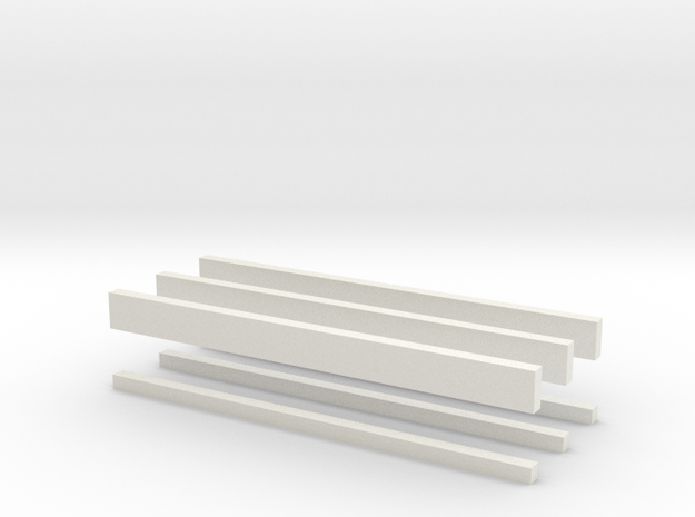 thin bars batch 2mm in White Natural Versatile Plastic