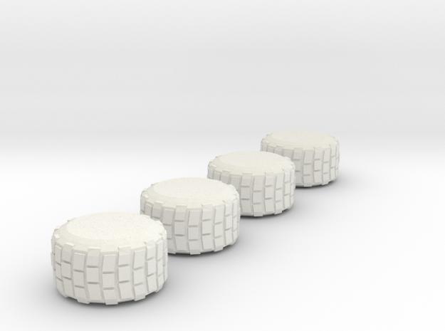 Military Grade Tires   7mm High in White Natural Versatile Plastic