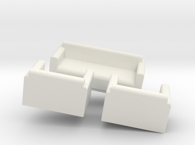 Three Piece Suite OO Scale in White Natural Versatile Plastic