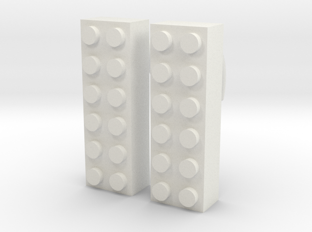 2x6 Brick Earring 2g in White Strong & Flexible