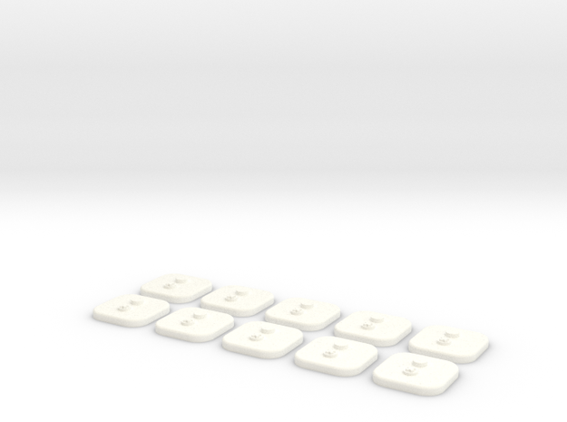 bX Minifig Base (Square)  / 10 pieces in White Strong & Flexible Polished