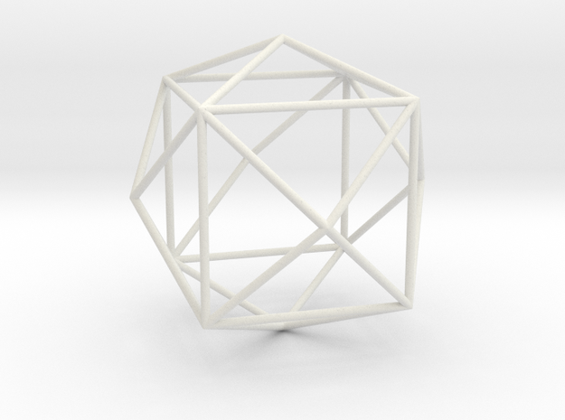 TetrakisHexahedron 70mm in White Natural Versatile Plastic