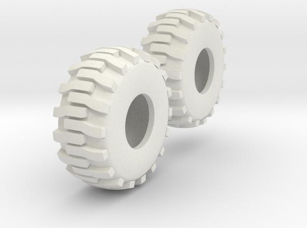 1:64 scale Industrial Tires in White Natural Versatile Plastic