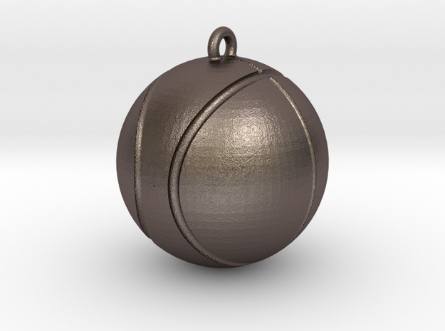 Basketball pendant in Polished Bronzed Silver Steel