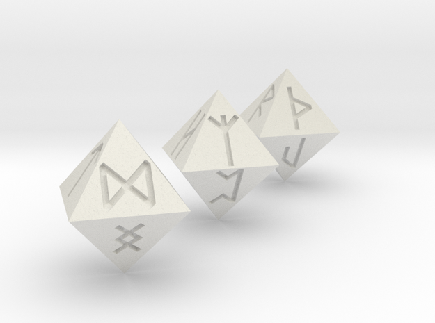 Rune Dice in White Natural Versatile Plastic