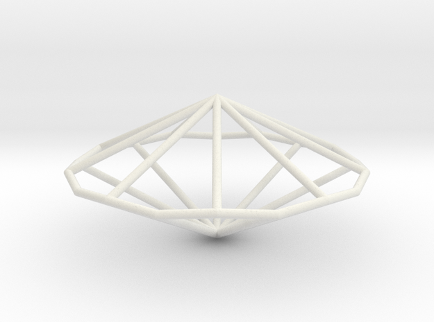NonagonalTrapezohedron 70mm in White Natural Versatile Plastic