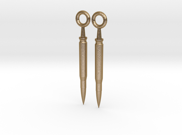 Bullet Earrings in Polished Gold Steel