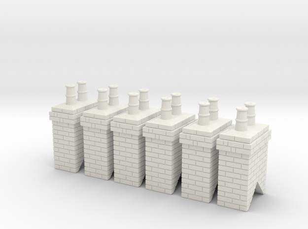 Chimney Stack 1 X 6 - 7mm Scale in White Natural Versatile Plastic