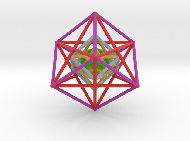 StarTetrahedron Cube nest 100mm Rainbow in Full Color Sandstone