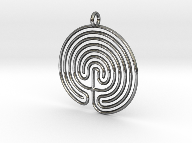 Labyrinth Pendant in Fine Detail Polished Silver