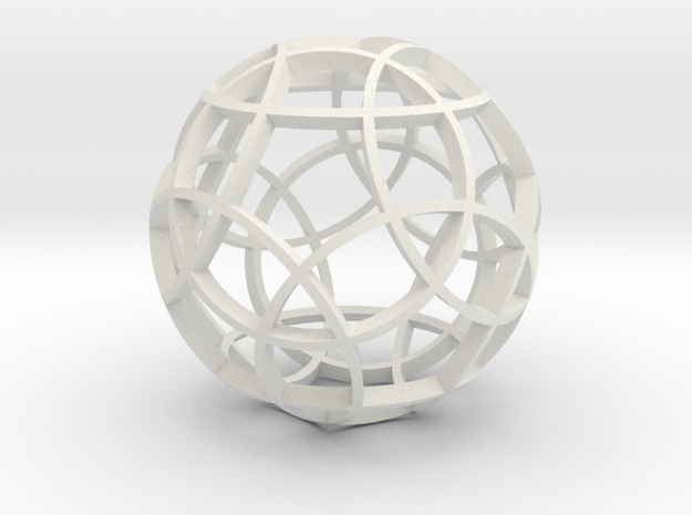 Rhombicosidodecahedron (narrow) in White Natural Versatile Plastic