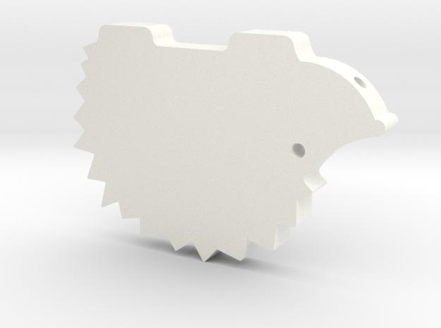 Hedgehog necklace in White Processed Versatile Plastic