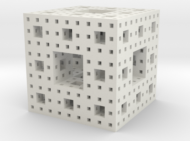 Menger Sponge 3 iterations in White Natural Versatile Plastic