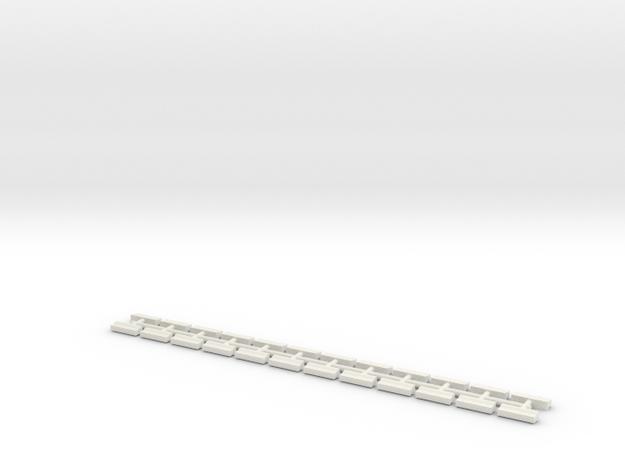 1/700 Concrete Road Barriers (x24) in White Natural Versatile Plastic