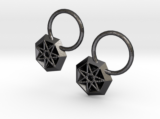 Star Earrings in Polished and Bronzed Black Steel