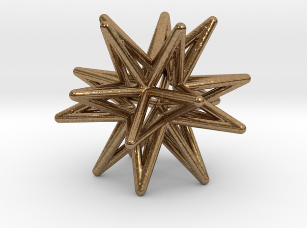 Icosahedron Star Earring in Natural Brass