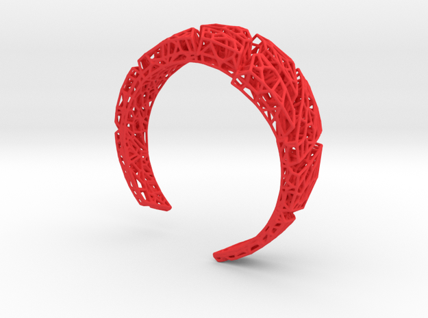 VoronoiBracelet v020 Small/Sexy/Asymmetrical in Red Processed Versatile Plastic
