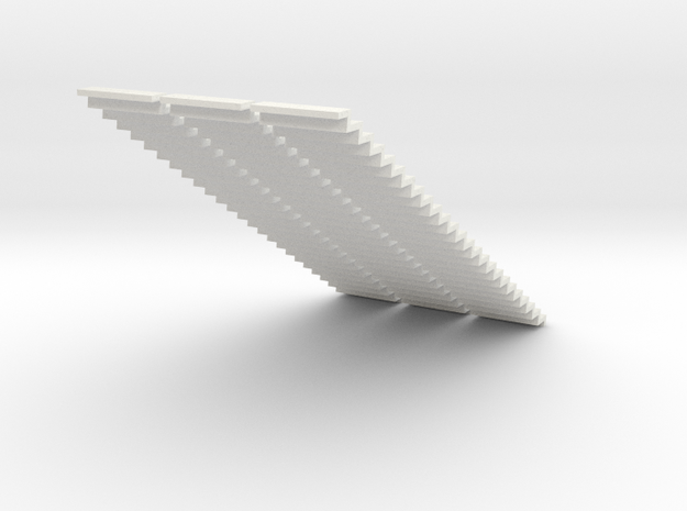 1200 Wide Stair 4mm Scale X 3 in White Natural Versatile Plastic