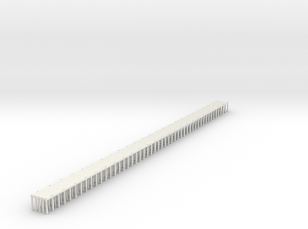 1/700 Single Span Wooden Dock in White Natural Versatile Plastic