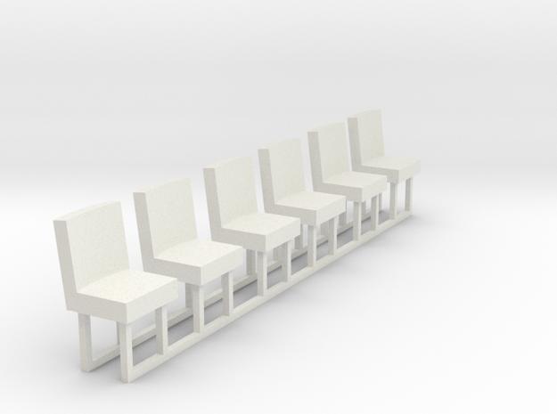 1:43 Cab Seats x 6 in White Natural Versatile Plastic