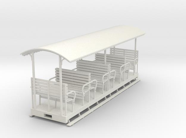 1/35 Open coach 1  (long) in White Natural Versatile Plastic