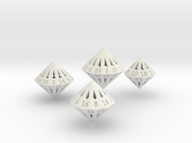 Large Dipyramidal Dice Set in White Natural Versatile Plastic