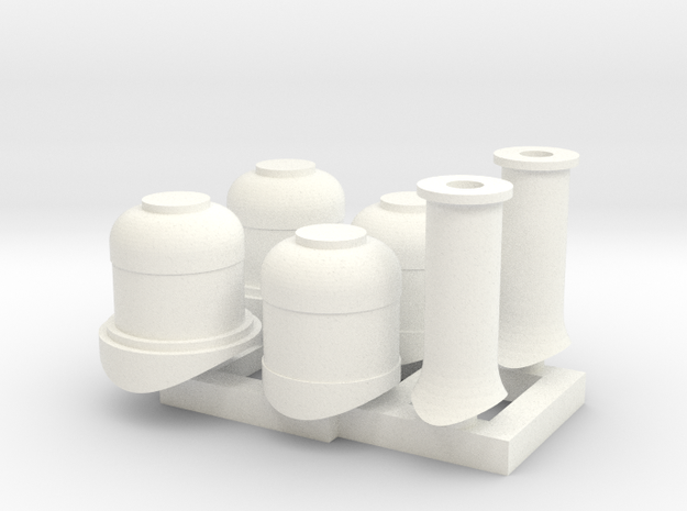 HOn30 Domes + Smoke stacks for 2-8-0 steam loco in White Processed Versatile Plastic