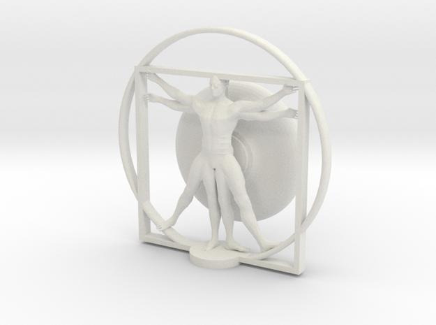 Cyborg Vitruvian man in White Natural Versatile Plastic