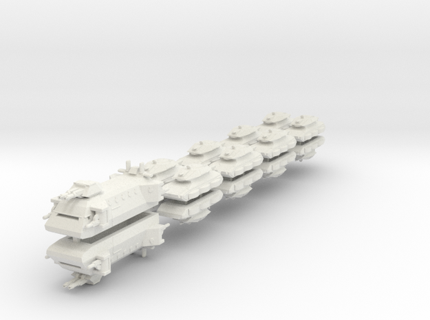 US Ground Support Fleet (18 Ships) 6mm in White Strong & Flexible