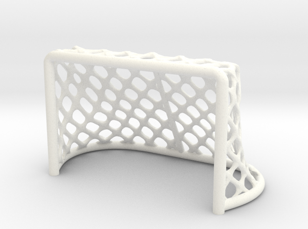 Hockey Net - 28mm scale in White Strong & Flexible Polished