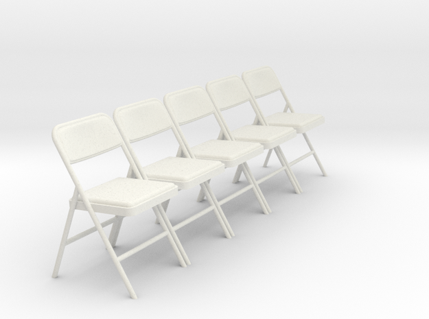 1:24 SCALE Folding Chairs (NOT FULL SIZE) in White Natural Versatile Plastic