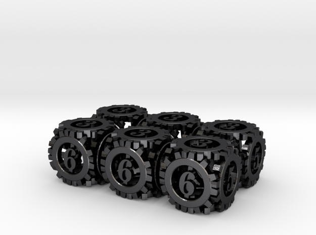 Steampunk Gear 6d6 Set 3d printed