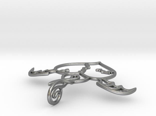 Flying broken heart - Silver / Gold pendant in Natural Silver