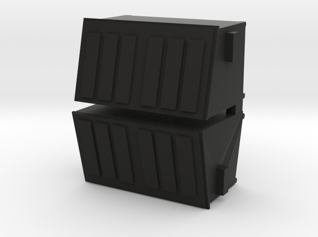 Dumpster Slanted 2 Cubic Yard HO 1/87 Scale- Pair 3d printed