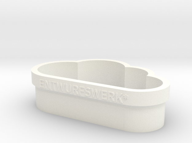 the cloud Cookie Cutter in White Strong & Flexible Polished