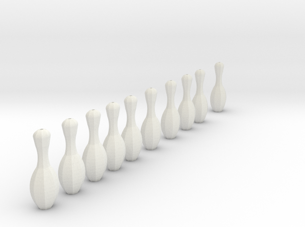 bowling pins, for mini bowling needs thread to att 3d printed