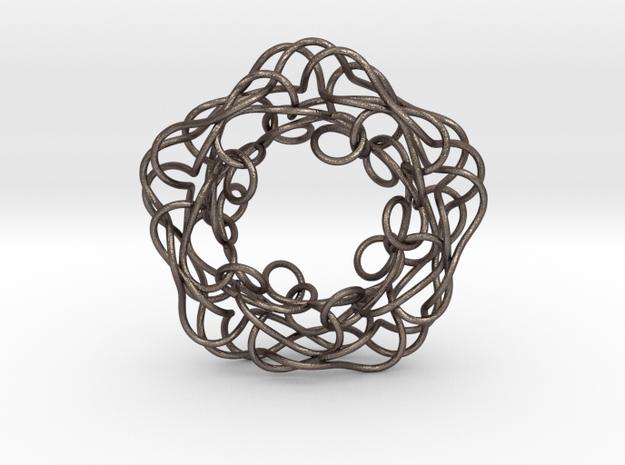 Pentagonal Knot Pendant in Polished Bronzed Silver Steel
