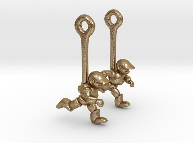 Running Robot Earrings 3d printed