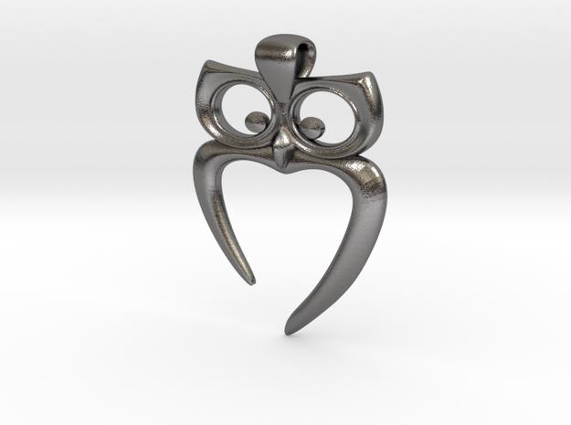 Owl Heart Pendant 3d printed