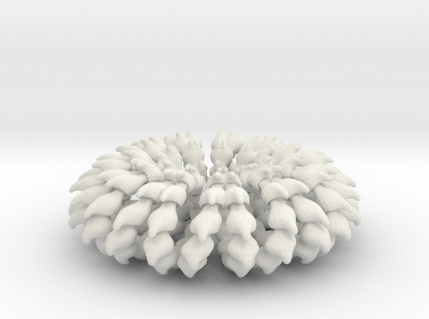 Wave Ring Doubly - 5cm in White Natural Versatile Plastic