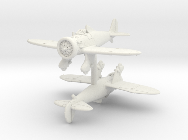 1/200 Boeing P-26A Peashooter (x2) in White Natural Versatile Plastic