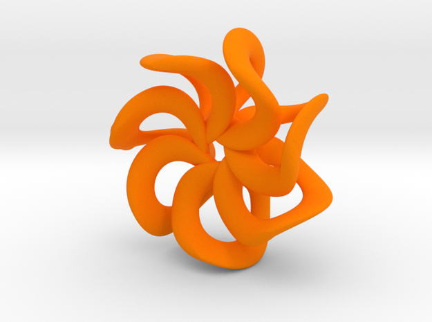 Flower pendant in Orange Strong & Flexible Polished
