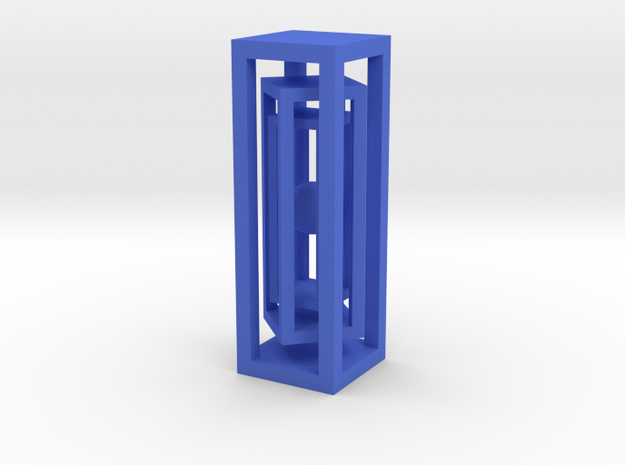 Miniature ball in three cages in Blue Processed Versatile Plastic