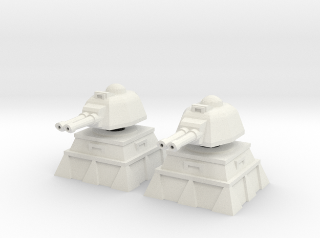 28mm Lascannon Turret and Bunker (x2) in White Natural Versatile Plastic
