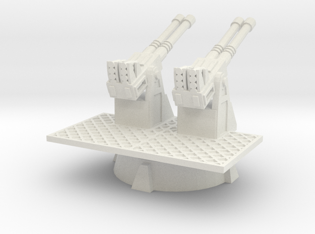 28mm scale Quad 40mm AA Turret in White Natural Versatile Plastic